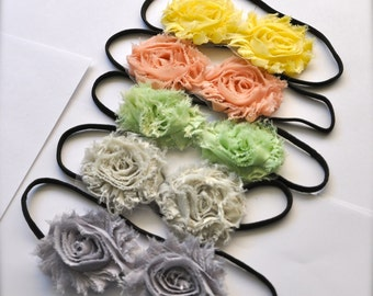 Summer pastels skinny stretch headband shabby chic blossoms for women or girls. Special offer 3 for 18.