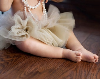 Baby tutu champagne, ivory and peach perfectly proportioned with blossom hair clip. Newborn photo prop, nursery decoration, baby gift