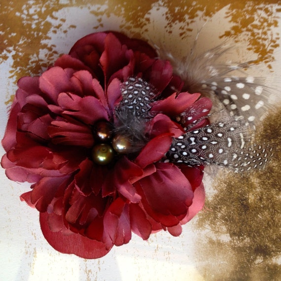 Warm burgundy wine flower clip with dotted feathers. Holiday fashion accessory. Ready to ship