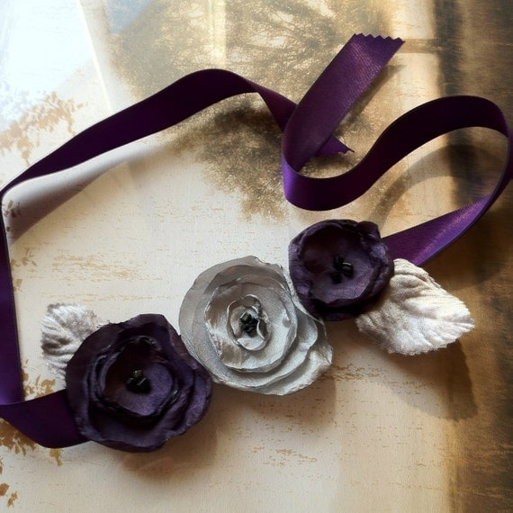 Eggplant purple and silver gray singed flower hair clips on a satin headband ribbon. Fall weddings bridesmaid.