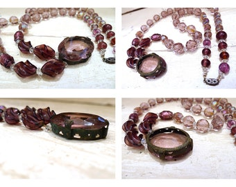 Vintage 1950s Amethyst Color Glass Beaded Necklace