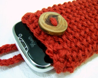Knit Phone Case in Pumpkin Spice, Chunky Knit Phone Sleeve, Orange Knit Phone Case,  Knit Phone Sock Orange
