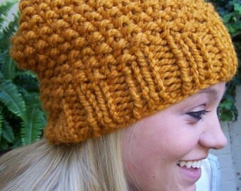 Hand Knit Slouchy Hat in Gold, Made to Order Chunky Knit Hat, Slouch Hat Mustard, Big Knit Hat Gold, Warm Winter Hat, Fall Slouch Hat Gold