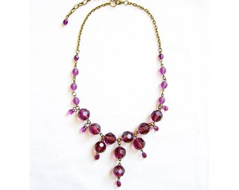 Bib Statement Necklace in Purple, Glass Beaded Statement Handmade Necklace