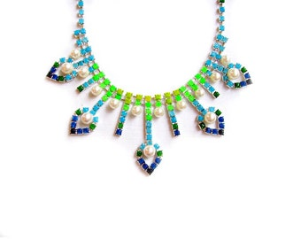 SALE Rhinestone Statement Necklace, Ombre Necklace in Blue Green