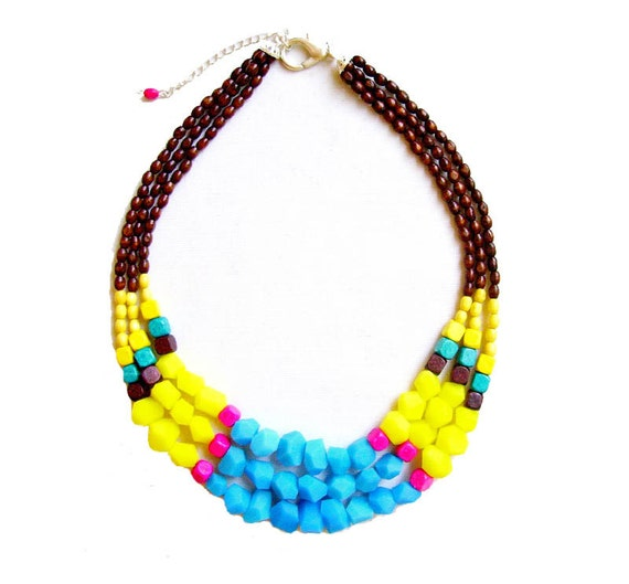 Geometric Neon Necklace, Maasai Tribal Inspired Statement Necklace - blue, yellow, brown, neon pink