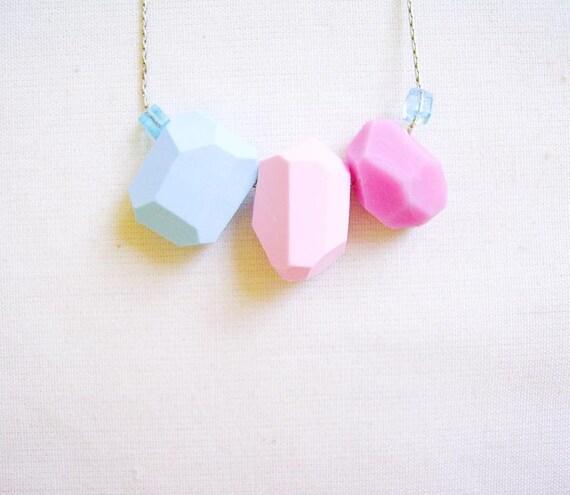 Pink Blue Geometric Necklace - Pastel Candy Color Block - Rare Diamonds Collection