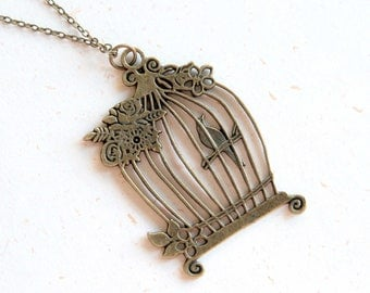Cage with bird and flower Necklace (N314)