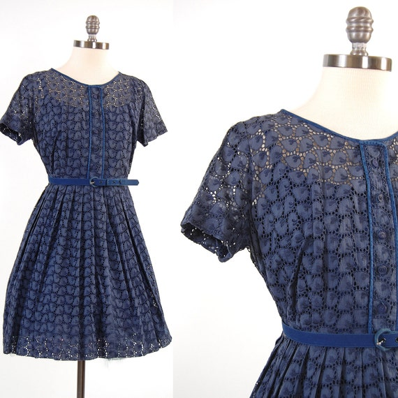 Vintage 50s 60s navy blue sheer Eyelet LACE mini dress / Full skirt with belt / size 32 inch waist