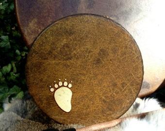 "BABY BEAR SPIRIT  Little Healer - 8"" diameter Native American style shamanic drum with custom totem and symbology artwork"