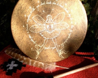 """FAIRY of PEACE & KINDNESS - Native American style shamanic drum with signature totem and symbology artwork - 10"""" diameter"""