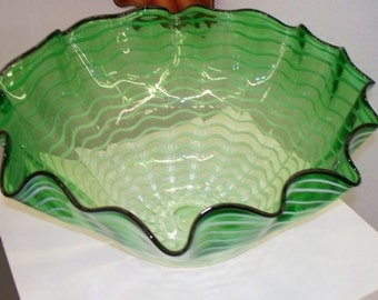 Hand Blown Glass Art Green Wrap Bowl SALE