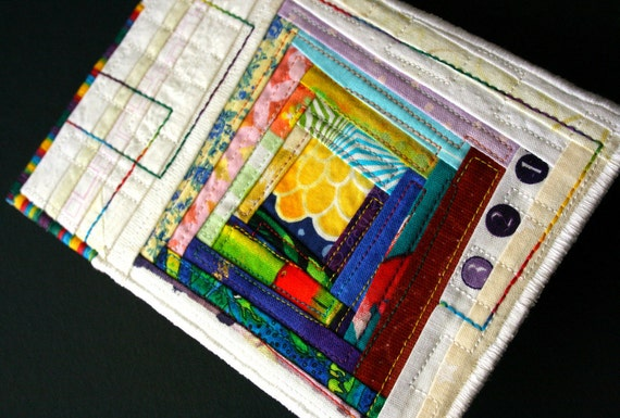 Quilted Postcard - Log Cabin Quilt Block Fabric Postcard in bright jewel tones