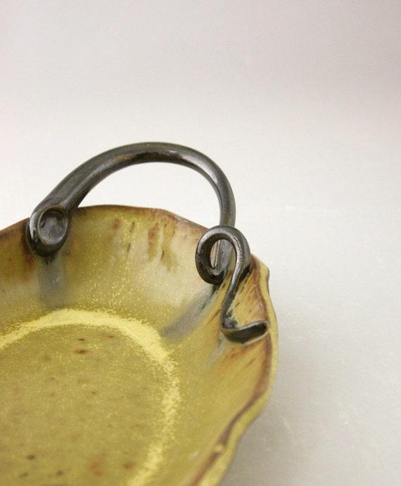 Serving Dish, Hand Built Stoneware Platter in Honeycomb by Nstarstudio
