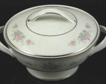 Vintage Noritake Astor Rose China Sugar Dish with Lid