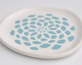 small ceramic plate - dahlia flower in robins egg blue on white - kitchen decor