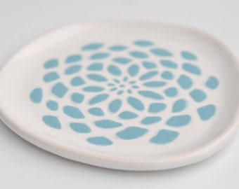 small ceramic plate - dahlia flower in robins egg blue on white - kitchen decor