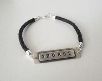 personalized sterling silver men black braided leather bracelet -customized  sterling silver leather bracelet