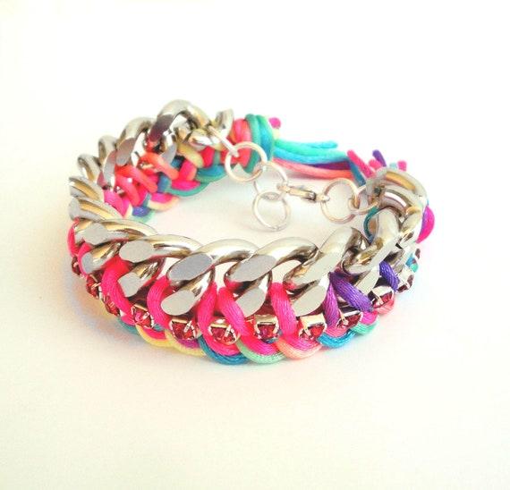 Neon multicolor Braided Chain Bracelet