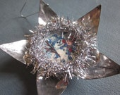Vintage Upcycled Tin Reflector Christmas Ornament - glitter - tinsel - victorian image
