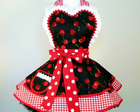 Cherries and Checks Pinup Picnic by Dots Diner -- in stock