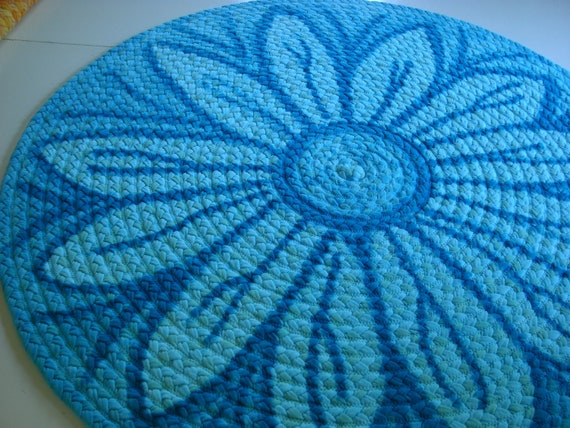 "Ready to ship 44"" Aqua flower braided rug created from t shirts and USA organic fabric."