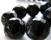 Onyx Beads 14mm Jet Black Faceted Onyx Round Beads - 6 Pieces