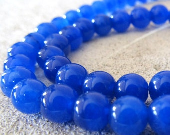 Jade Beads 6mm Royal Blue Candy Smooth Round Beads - 16 Pieces