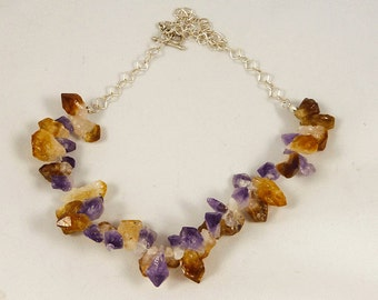 Rough cut Amethyst and Citrine Necklace