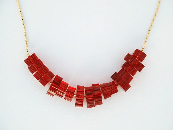 Laser Cut Acrylic Necklace - Christmas Red Stacked Beads - Modern Plexiglass Jewelry - Everyday Layering Necklace - Long Gold Chain