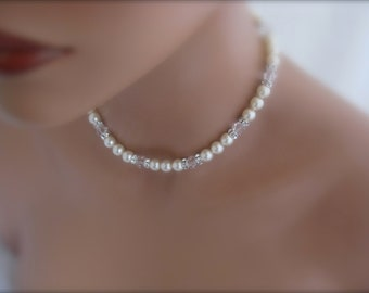 Pearl Necklace Wedding Jewelry Swarovski Ivory Pearl and Crystal bridal jewelry