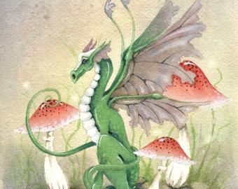 Dragon Art Watercolor Print - 5x7 - Ryn the Dragon - fantasy. cute. whimsical. red. green. mushroom. folklore. watercolor