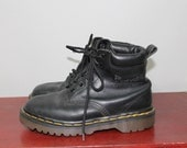 90s Dr Martens Combat Boots Lace Up Military Grunge Ankle Black Leather W 5 Docs