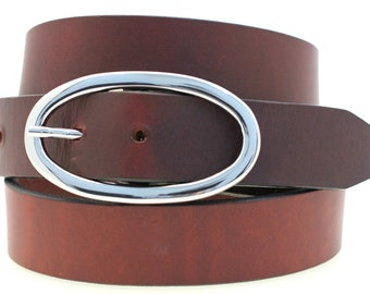 """Women's 1 1/4"""" Chestnut Show Harness Hip Or Waist Leather Belt Large Round Buckle Made In USA"""