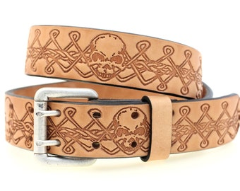 "Men's 1 1/2"" Tan Harness Leather Belt With Double Hole And Original Skull And Celtic Knotwork Embossing Old Silver Finish Roller Buckle"