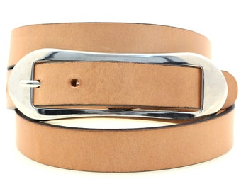"Ladies' Hip Or Waist Thin 1"" Belt Tan Harness Leather Over-Sized Oval Buckle Made In America"