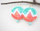 Pastel Sequin Earrings, Bright Geometry Earrings, Melon Coral White Sequins, Jade Turquoise Embroidery, Felt Dangle Earrings, Colorful Women