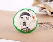 I Love You - Clay Brooch Pin with Drawing