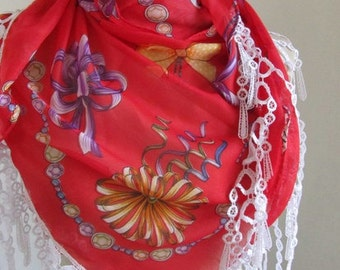 Tringle  multiolor Turkish Yemeni fabric scarf ,authentic, romantic, elegant, fashion