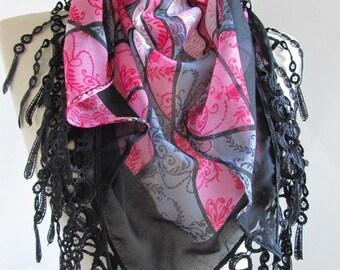 Black scarf - Grey scarf Multicolor scarf  Turkish Yemeni OYA Scarf  Black scarves