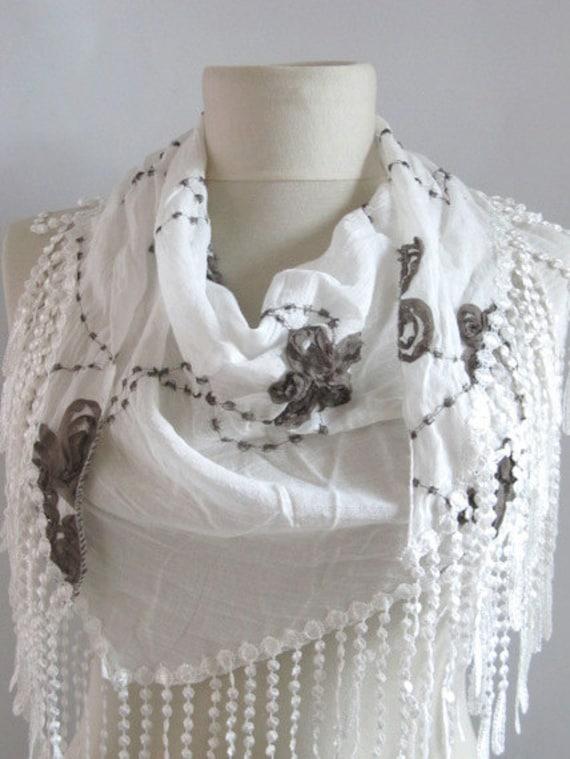 FREE Shipping..White Tringle fringed  scarf-..%100 Cotton authentic, romantic, elegant, fashion