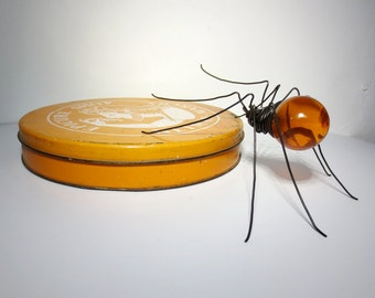 Spectacular Orange Spider Wire and Vintage Globe Repurposed Art