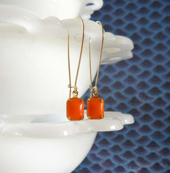 Orange and Gold Earrings. Square.  Game Day Collection.  Miami.  Tennessee.  Clemson.  Bengals.  Gators.  Tigers.  Illinois. Broncos.