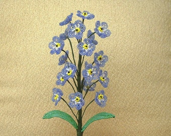 "Blue ""Forget Me Not"" ... French Beaded Flowers"