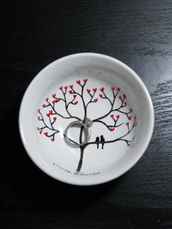Personalised Wedding Gift Ring Dish : Jewelry Trinket Dish Personalized Engagement Wedding Gift Ring