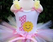 Ruffle Strap Sunshine Birthday Outfit with Matching Tutu and choice of Hair Accessory