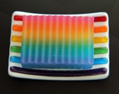 Over the Rainbow Fused Glass Soap Dish Gift Set