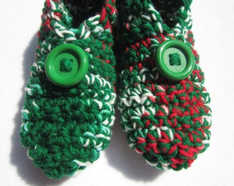 Christmas Morning Slippers in Red Green and White Size Small