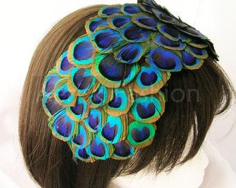 Peacock feather fascinator - Steampunk Bonnet  60 plus peacock feather eyes from ear to ear headband - Hollywood Regency REGINA design