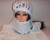 Crochet White Beanie Hat and Scarf with Fringes Set, Womans Accessories, Crochet Scarf, Crochet Beanie, MADE TO ORDER